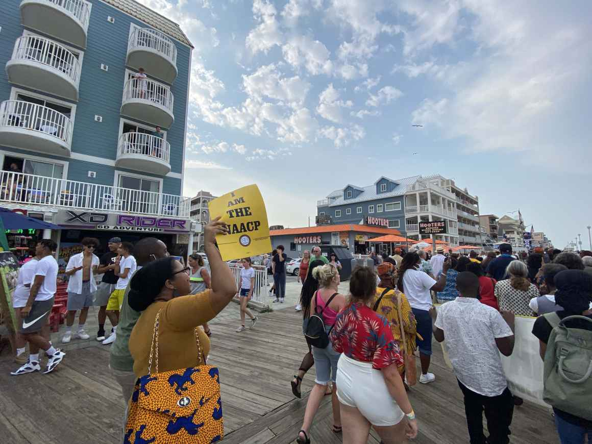 2021 Freedom Riders are marching down the boardwalk in Ocean City.