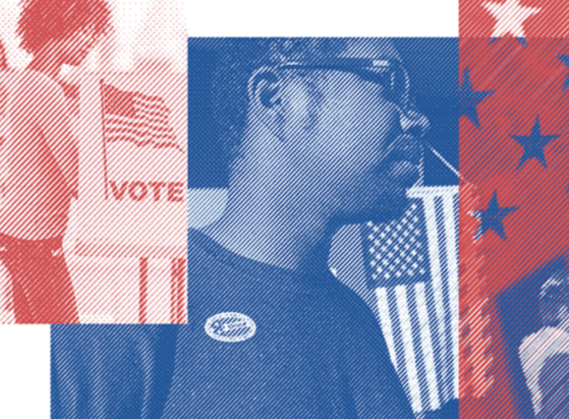 """The image on the left is of a Black woman at voting at a ballot box and has a red filter over it. The image in the middle is a Black man wearing an """"I voted"""" sticker and has on glasses. The image on the right is part of the US flag and shows stars."""