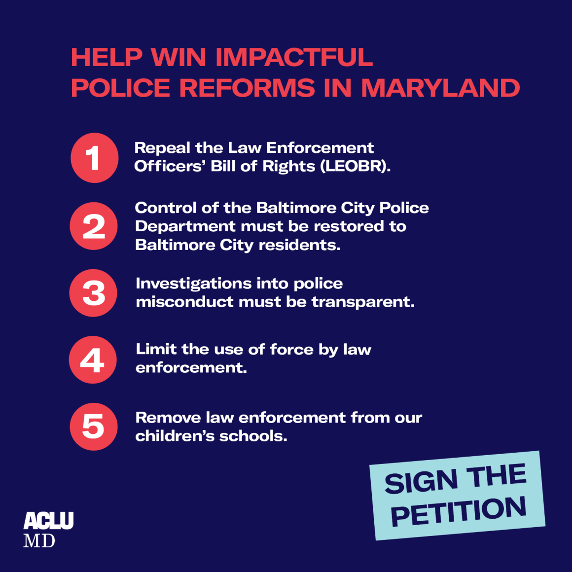 Help win impactful police reforms in Maryland - Sign the petition