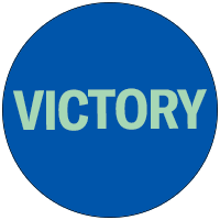 Victory in a blue circle