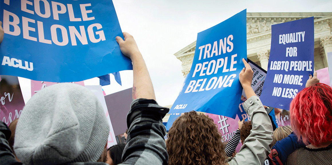"""Trans People Belong"" protest signs at Supreme Court"