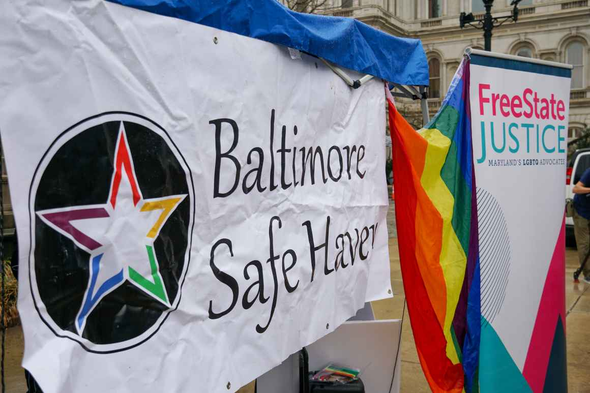 Baltimore Safe Haven and FreeState Justice banners