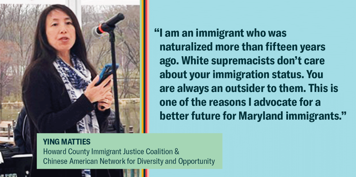 """Ying Matties is on the left, with a quote saying, """"""""I am an immigrant who was naturalized more than fifteen years ago. White supremacists don't care about your immigration status. You are always an outsider to them. This is one of the reasons I advocate f"""