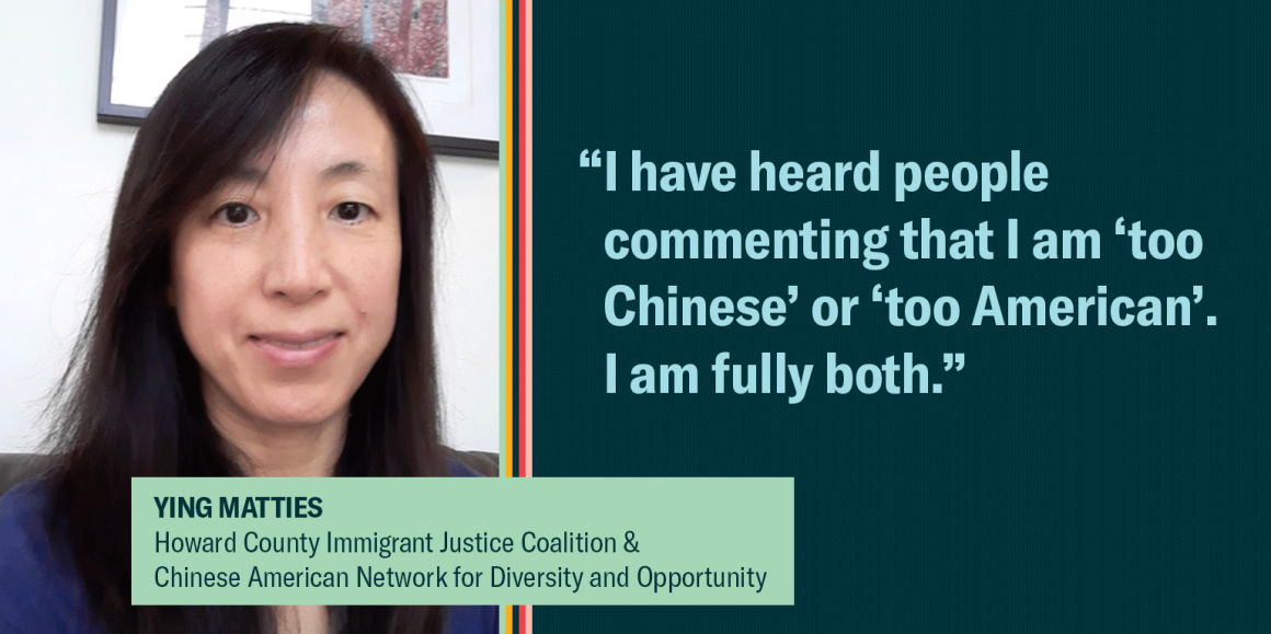 """Ying Matties is on the left, with a quote saying, """"""""I have heard people commenting that I am 'too Chinese' or 'too American'. I am fully both."""""""