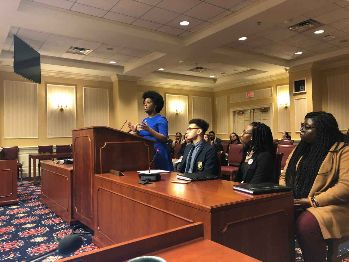 Amber Taylor testified in front of the Maryland Judicial Proceedings Committee in Annapolis, Maryland on February 17, 2020, wearing her natural hair.
