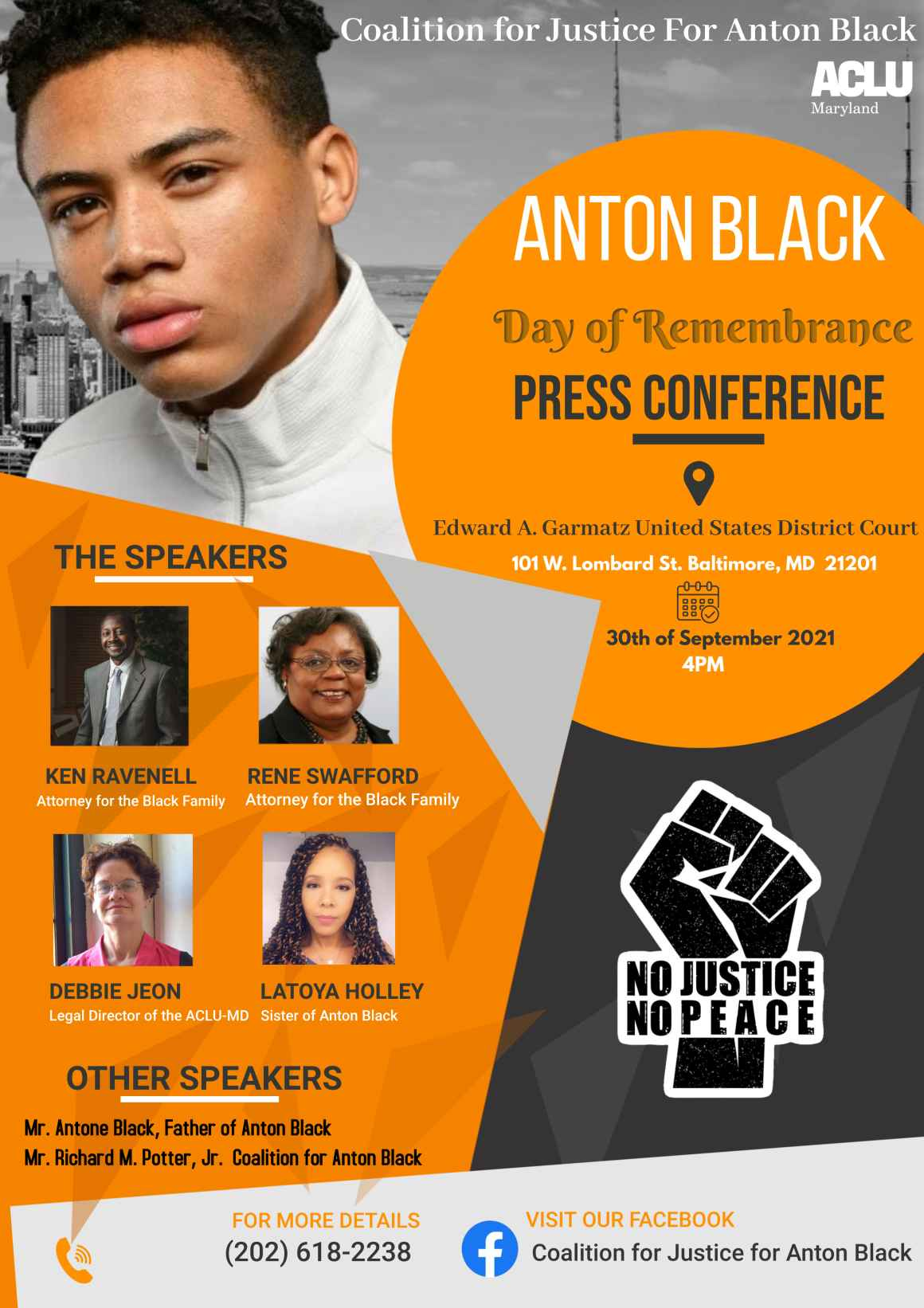 Anton Black Day of Rememberance press conference. September 30, 2021, at 4pm. Picture of Anton Black and the speakers, Ken Ravenell, Rene' Swafford, Debbie Jeon, and Latoya Holley. Other speakers include Antone Black and Richard Potter.