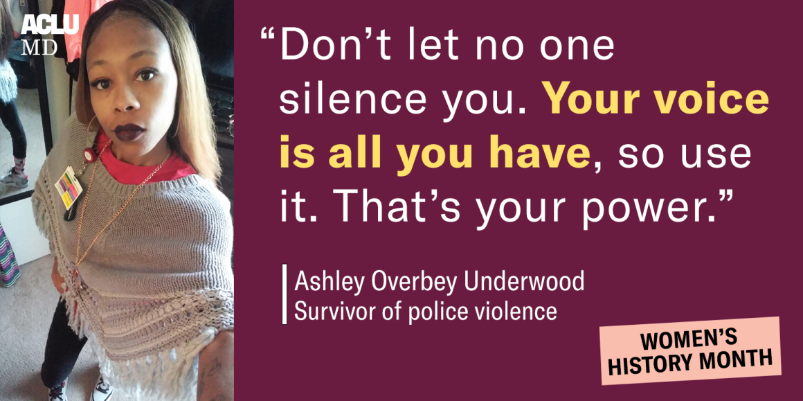 """Image shows a pictur of Ashley Overbey Underwood and says, """"Don't let no one silence you. Your voice is all you have, so use it. That's your power."""""""