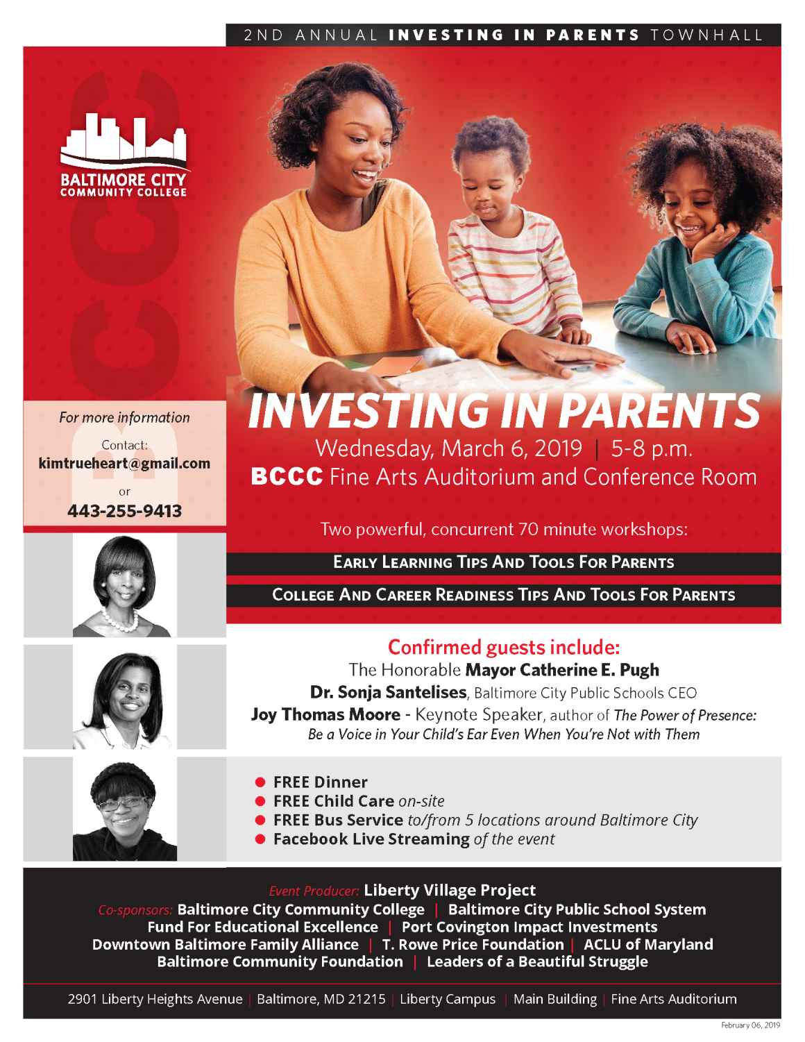 Flyer with details of the Investing in Parents event, including confirmed guests, event information, and co-sponsors.