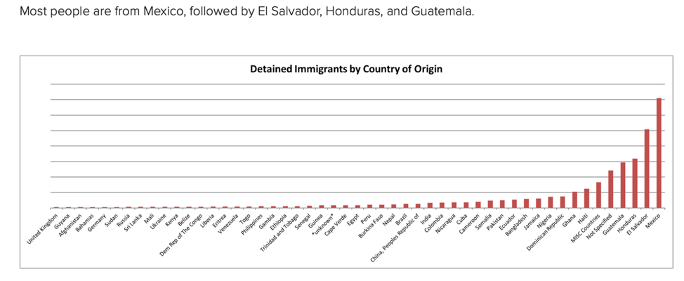 Chart with Detained Immigrants by Country of Origin - Most are from Mexico