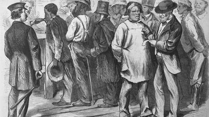 A freedman registering to vote.