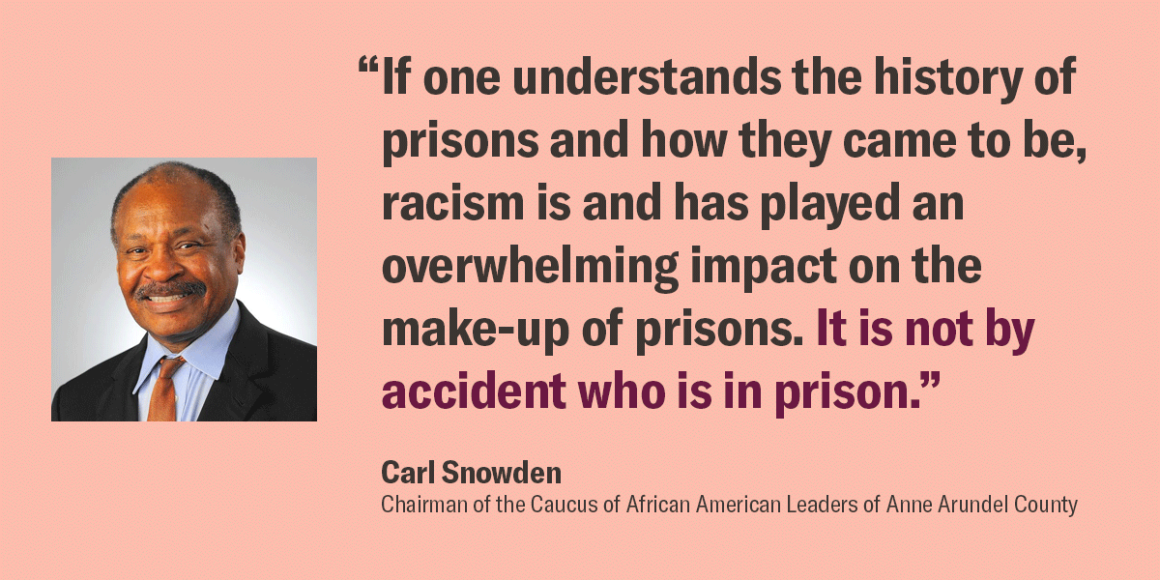 """Quote by Carl Snowden, Chairman of the Caucus of African American Leaders of Anne Arundel County, """"If one understands the history of prisons and how they came to be, racism is and has played an overwhelming impact on the make-up of prisons."""" Not accident."""