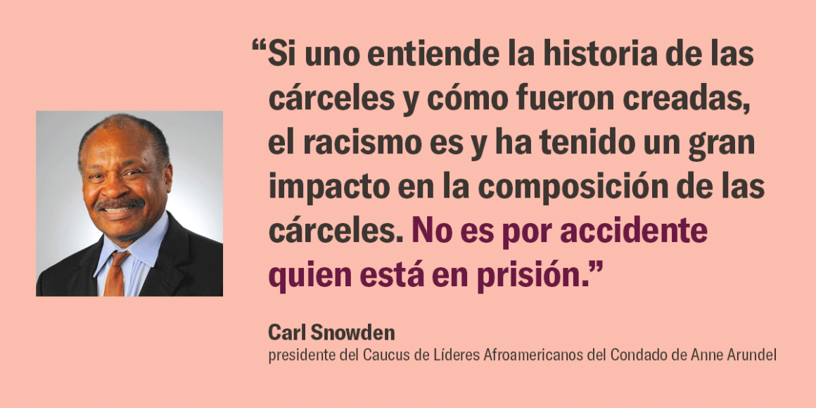 """""""Si uno entiende la historia de las cárceles y cómo fueron creadas, el racismo es y ha tenido un gran impacto en la composición de las cárceles. No es por accidente quien está en prisión."""" – Carl Snowden, presidente del Caucus de Líderes Afroamericanos de"""