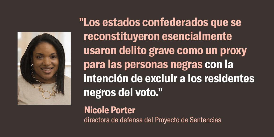 """Nicole Porter, directora de defensa del Proyecto de Sentencias, dijo: """"Los estados confederados que se reconstituyeron esencialmente usaron delito grave como un proxy para las personas negras con la intención de excluir a los residentes negros del voto""""."""