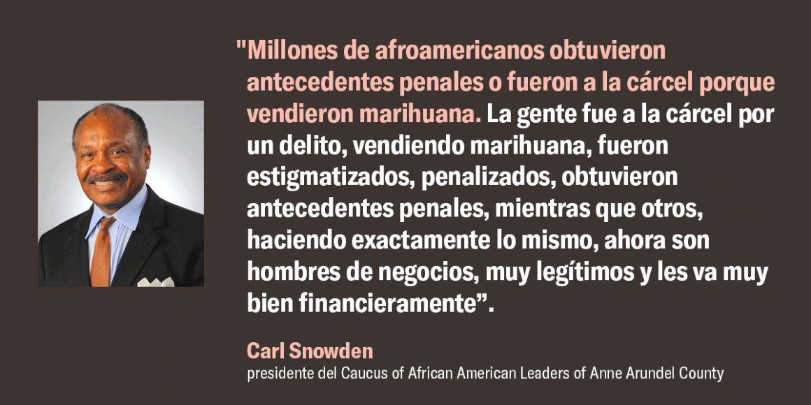 """""""Millones de afroamericanos obtuvieron antecedentes penales o fueron a la cárcel porque vendieron marihuana. La gente fue a la cárcel por un delito, vendiendo marihuana, fueron estigmatizados, penalizados, obtuvieron antecedentes penales, mientras que otr"""