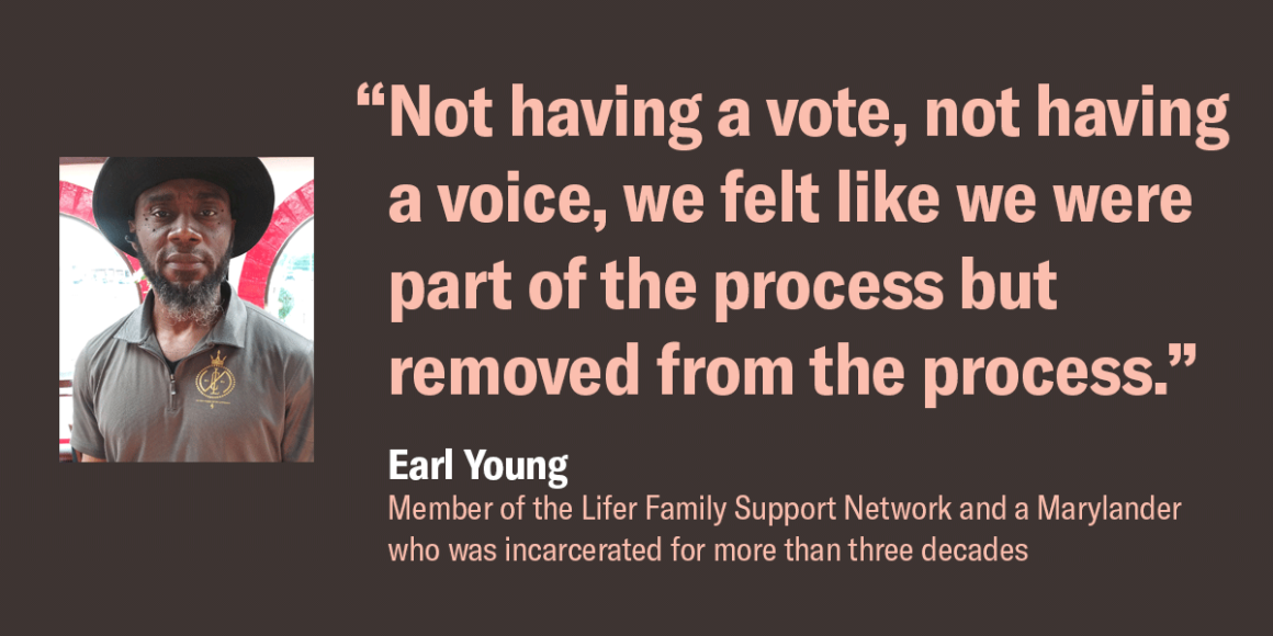 """Image shows a picture of Earl Young, and a quote that says, """"Not having a vote, not having a voice, we felt like we were part of a process but removed from the process."""""""