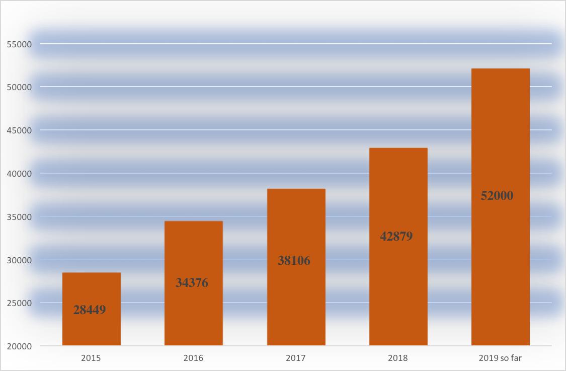 Gráfico que detalla cuántas personas han estado en centros de detención 2015: 28449 -2019: 52000