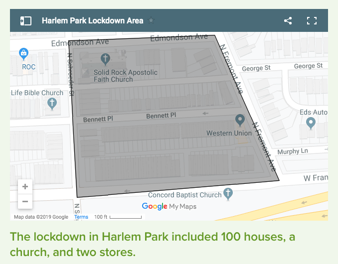 Map of a section of the Harlem Park neighborhood on Google Maps of area that Baltimore Police Department imposed a lockdown for six days