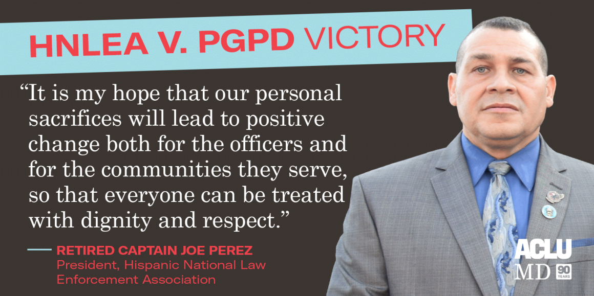 """Joe Perez said: """"It is my hope that our personal sacrifices will lead to positive change both for the officers and for the communities they serve, so that everyone can be treated with dignity and respect."""""""