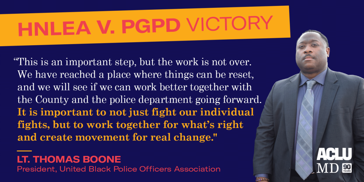 """Thomas Boone said: """"This is an important step, but the work is not over. We have reached a place where things can be reset, and we will see if we can work better together with the County and the police department going forward."""""""