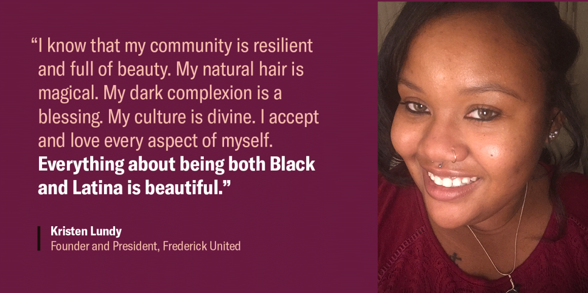 """Kristen Lundy quote image. """"I know that my community is resilient and full of beauty. My natural hair is magical. My dark complexion is a blessing. My culture is divine. I accept and love every aspect of myself. Everything about being both Black and..."""""""