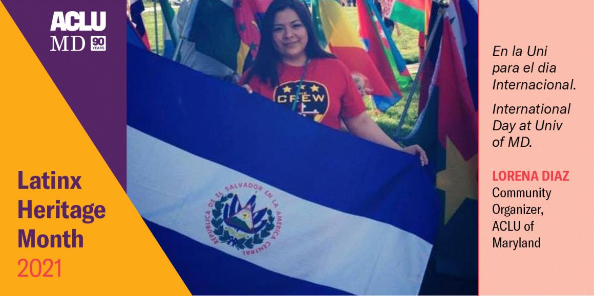 Lorena Diaz is holding the El Salvador flag. En la Uni para el dia Internacional. International Day at Univ of MD.