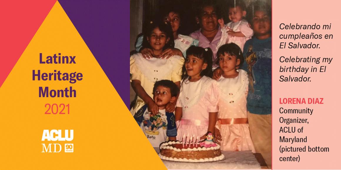 Lorena Diaz as a young girl. Celebrando mi cumpleaños en El Salvador. Celebrating my birthday in El Salvador.