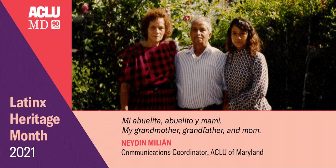 Neydin Milián. Mi abuelita, abuelito y mami. My grandmother, grandfather, and mom.