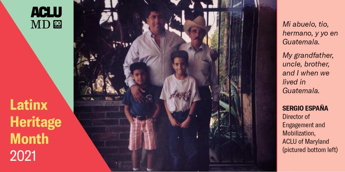 Sergio España as a young boy. Mi abuelo, tio, hermano, y yo en Guatemala. My grandfather, uncle, brother, and I when we lived in Guatemala.