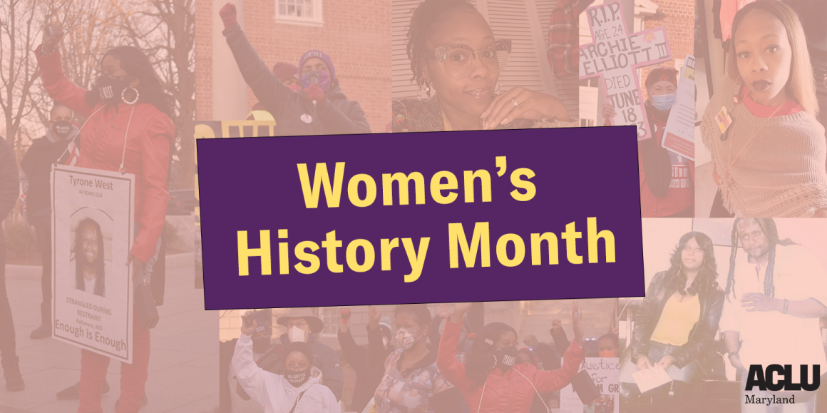Women's History Month image has a collage of photos of Tawanda Jones and Ashley Overbey Wood.