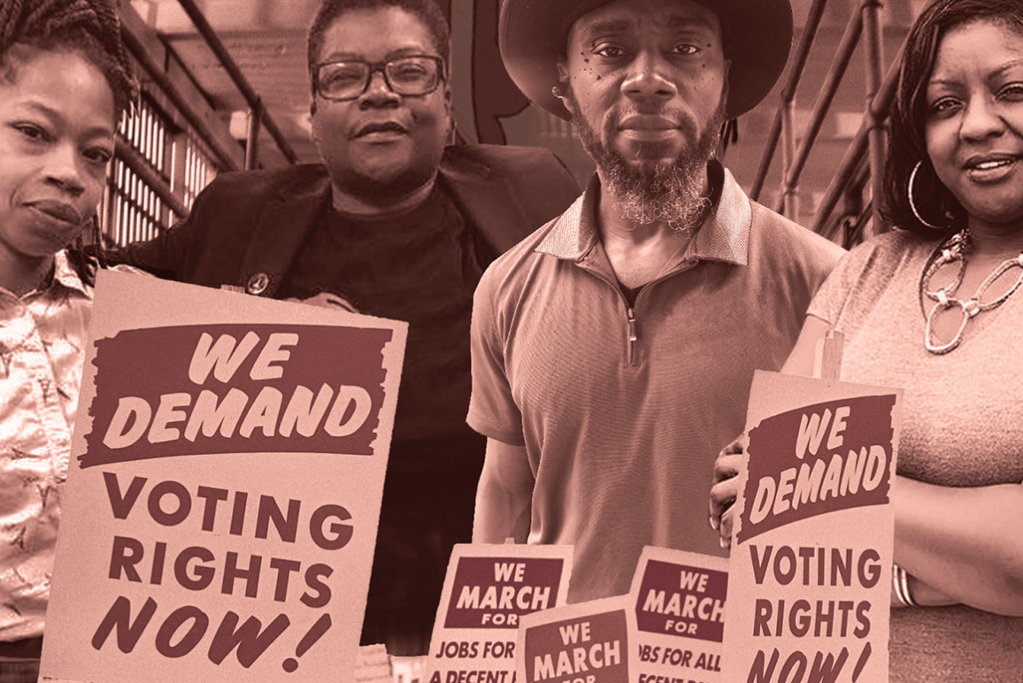 Free the Vote. Nicole Hanson Mundell, Monica Cooper, Earl Young, and Qiana Johnson are standing together behind posters from the Civil Rights Movement calling for voting rights now. The poster has a pink and brown theme.