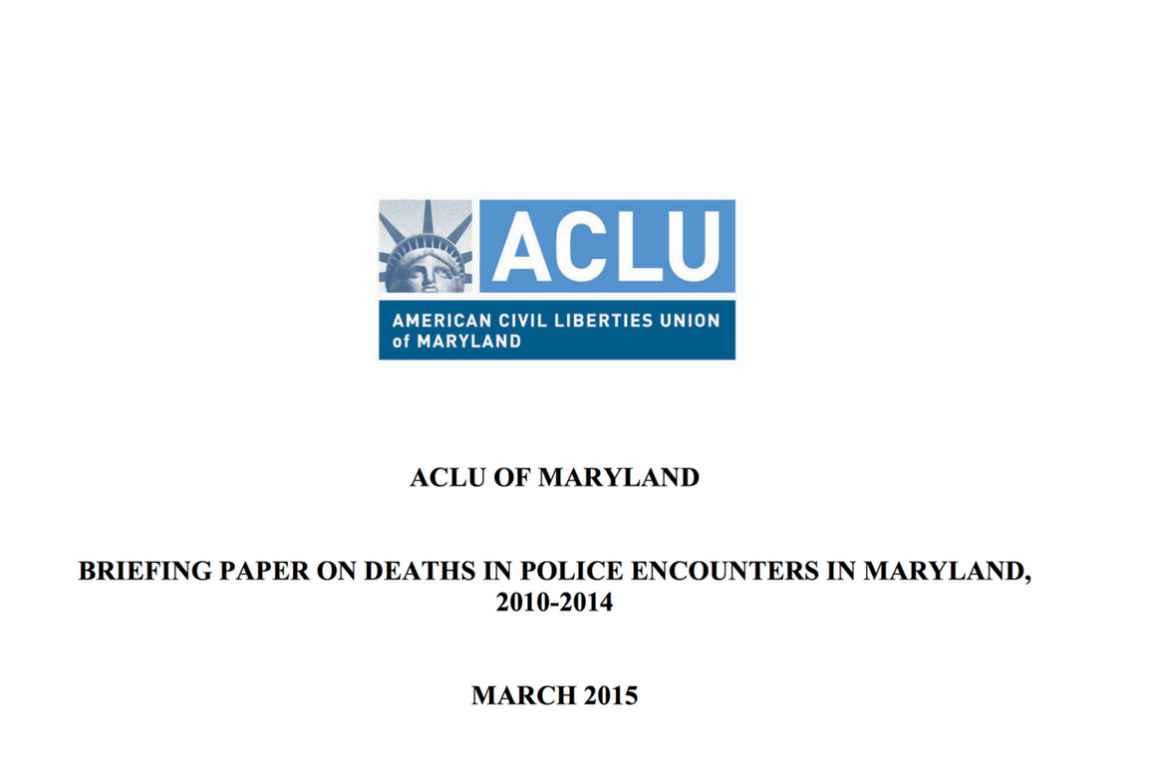 ACLU of MD Briefing Paper on Police Encounters