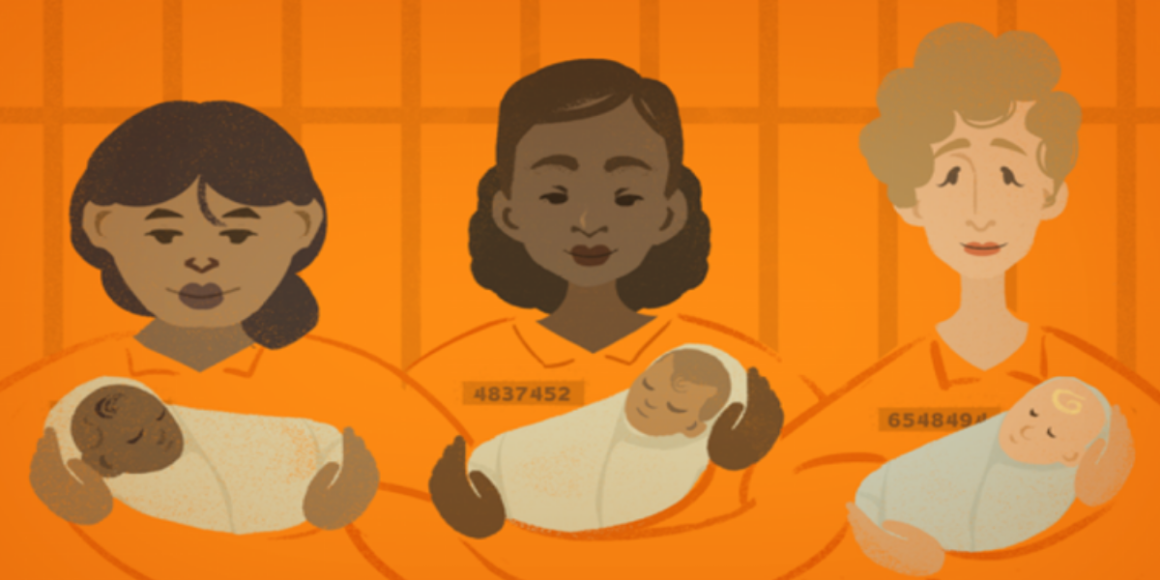 An illustration with three women, Brown, Black, and white, holding babies, with an orange background.