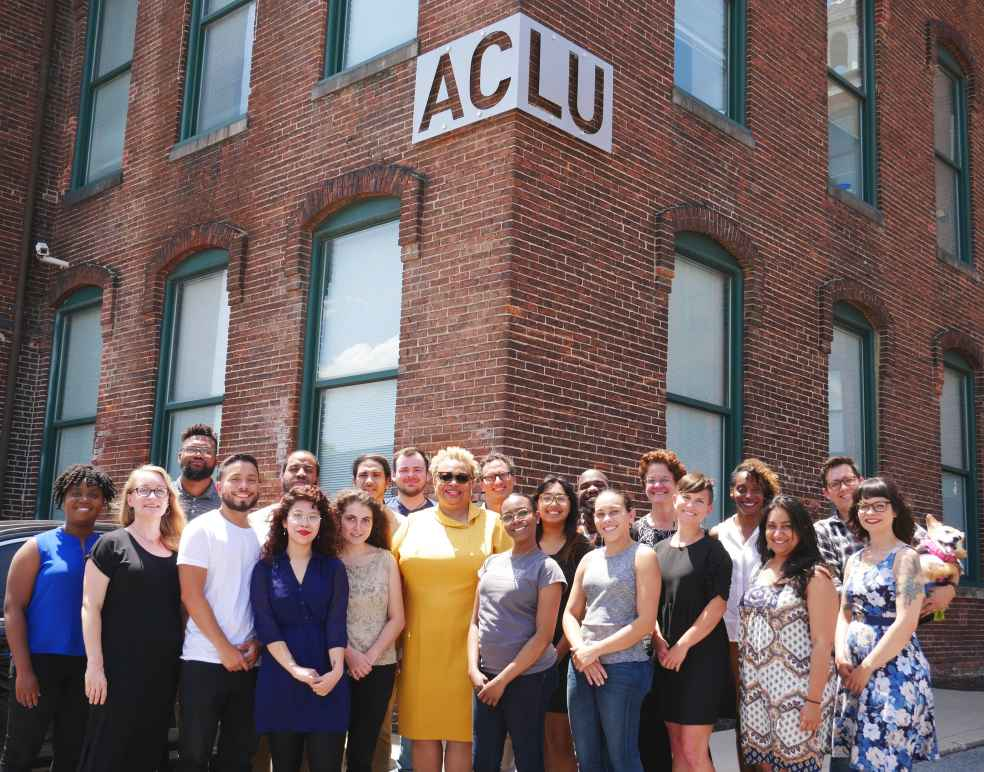 ACLU staff standing in front of the ACLU building in 2019