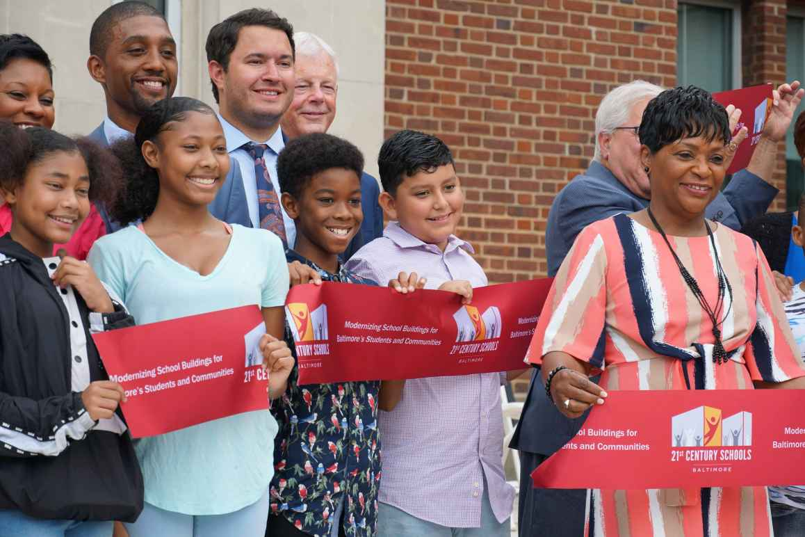 Arlington Elementary Middle School Baltimore City ribbon cutting with students, Council President Brandon Scott, and Speaker of the House Adrienne Jones