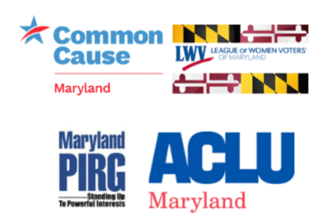 Logos for Common Cause Maryland, League of Women Voters of Maryland, Maryland PIRG, and ACLU of Maryland