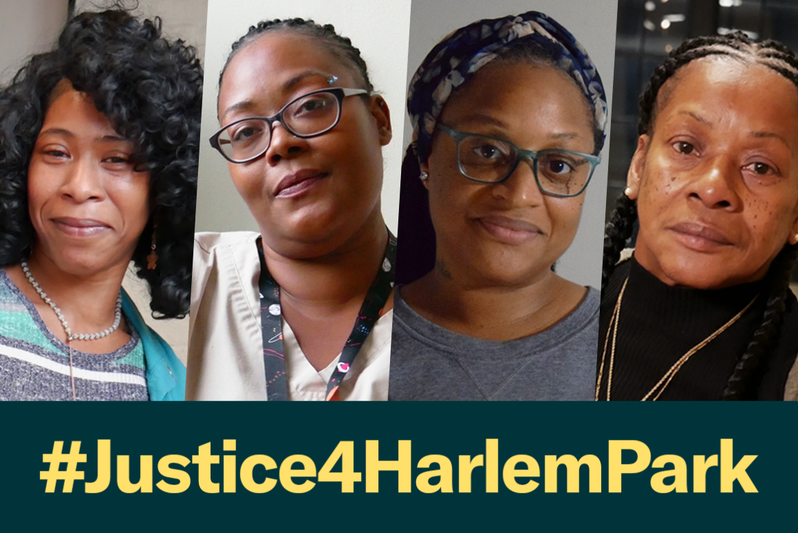 Photos of the four clients in the Harlem Park case Holmes v Baltimore Police Department with a dark green rectangle below with #Justice4HarlemPark in bold yellow letters