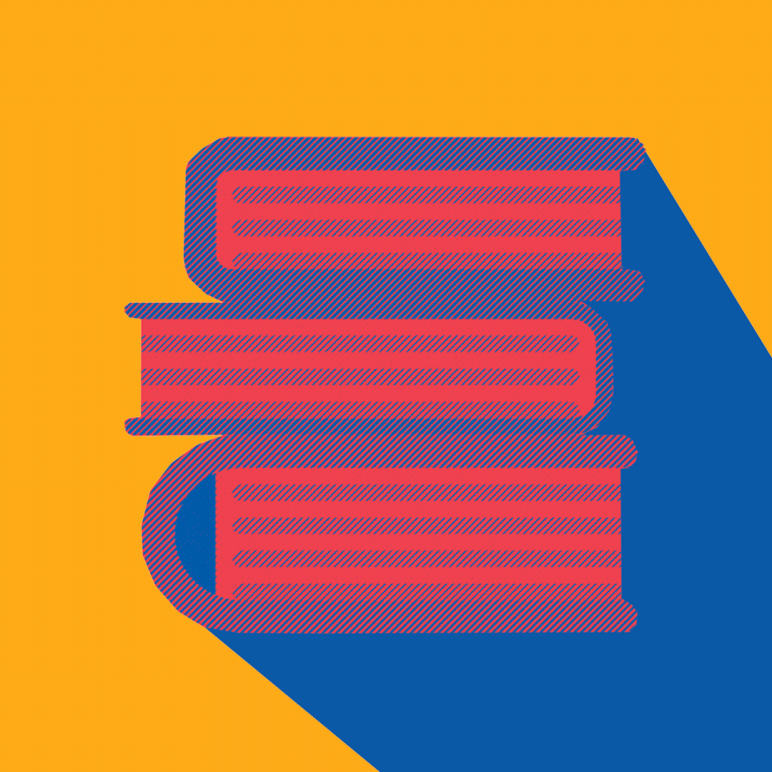 Yellow background with stacked books in red and blue.