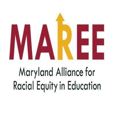 Maryland Alliance for Racial Equity in Education logo. The R in MAREE has an arrow pointing up.
