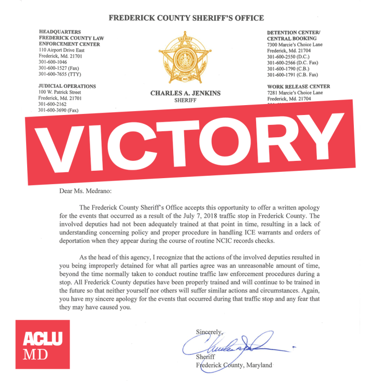 """Image shows apology letter from Frederick County Chuck Jenkins to Sara Medrano, Latina resident and plaintiff in Medrano v. Jenkins. There is an angled red rectangle in the middle that says """"Victory""""."""