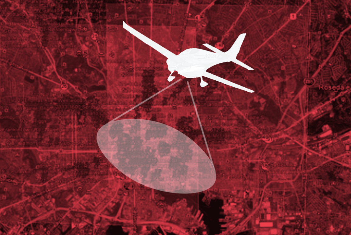 Police spy plane over map of Baltimore with a red overlay