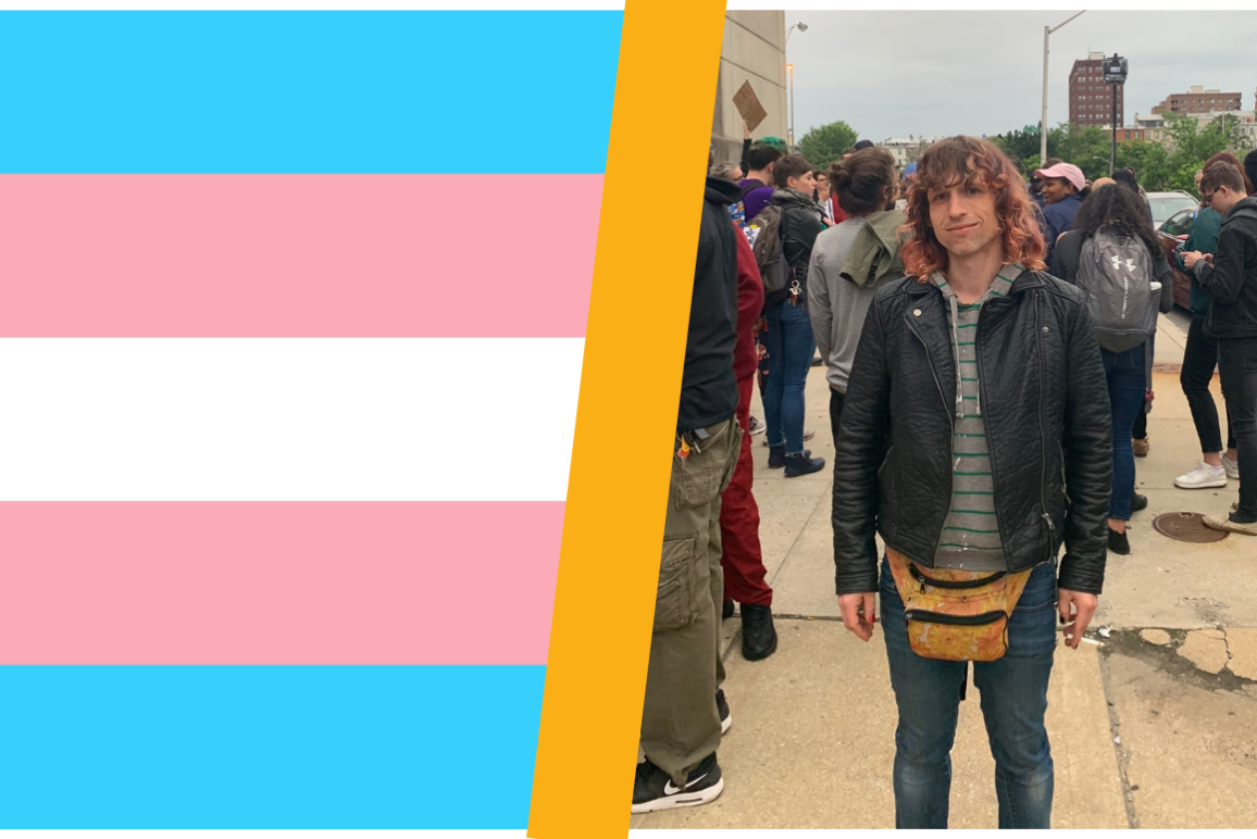 Trans Flag and Opal a trans woman in a black leather jacket with a fanny pack