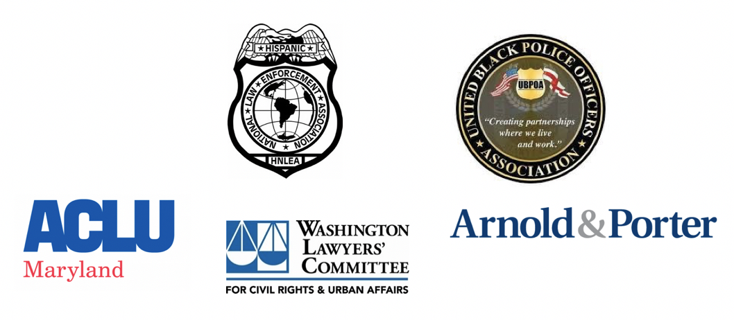 Logos for ACLU of Maryland, Washington Lawyers Committee, Arnold and Porter, HNLEA, and United Black Police Officers Association