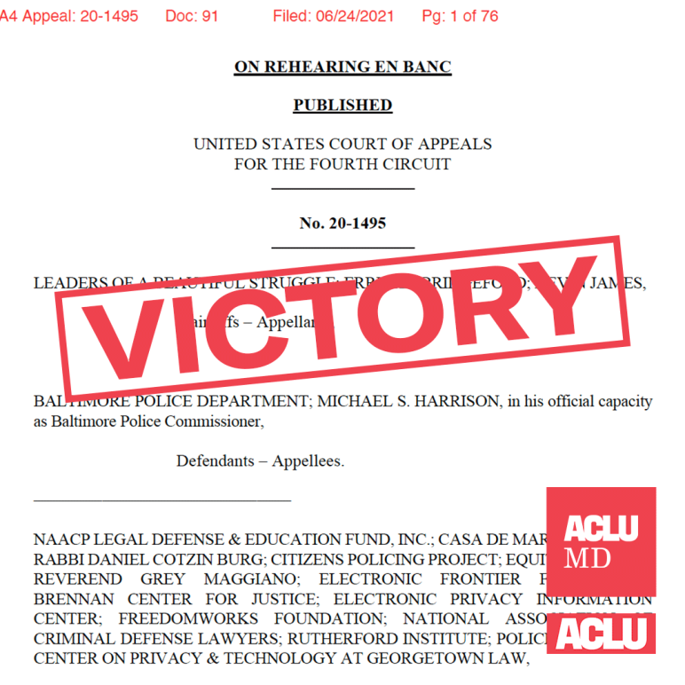 Victory stamp is angled over the first page of the 4th Circuit Opinion in the sply plane case, Leaders of a Beautiful Struggle v. Baltimore Police Department.