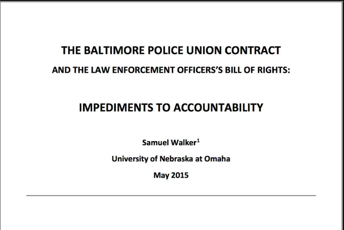 Balt City Police Union Contract Walker