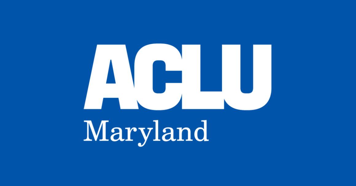 ACLU of Maryland logo on blue background
