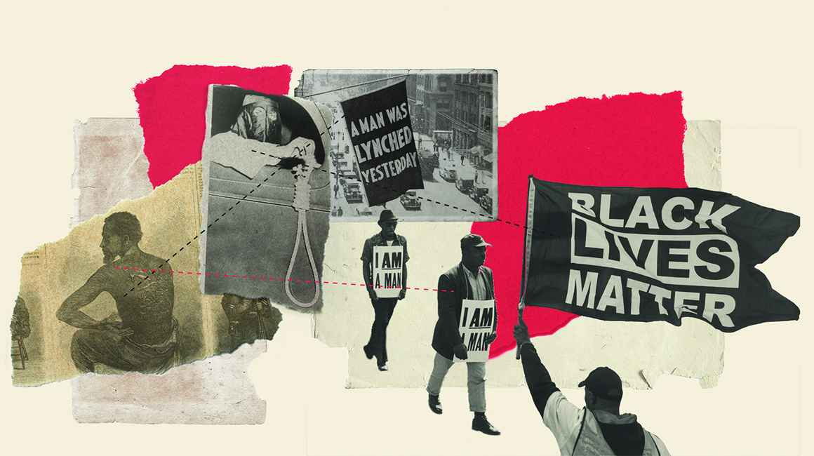 Collage of images supporting case for reparations
