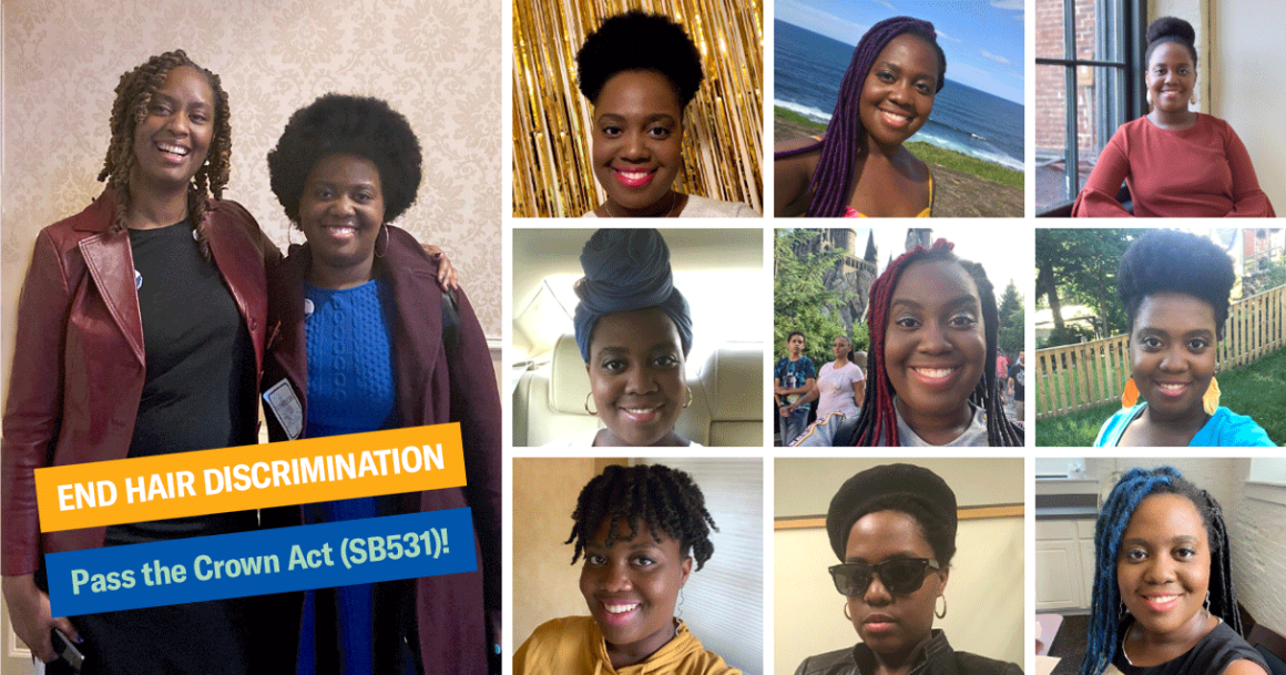 """Image of Amber Taylor in a collage of nine photos of herself with different hairstyles, as well as one with Delegate Stephanie Smith, who is the sponsor of the Crown Act, SB531. Text on the image says, """"End Hair Discrimination"""" and """"Pass the Crown Act."""""""