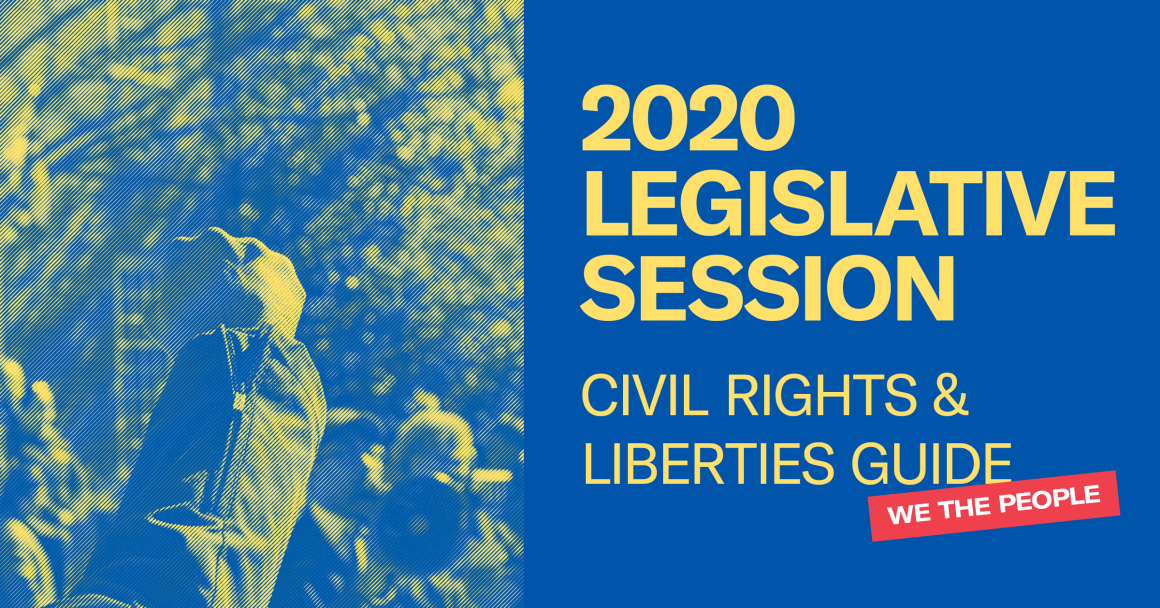 "Blue image with raised fist with blue and yellow treatment. The left is on a solid blue background and says ""ACLU Lobby Day"" with date and location details. There is a red bar angled that says ""We the People""."