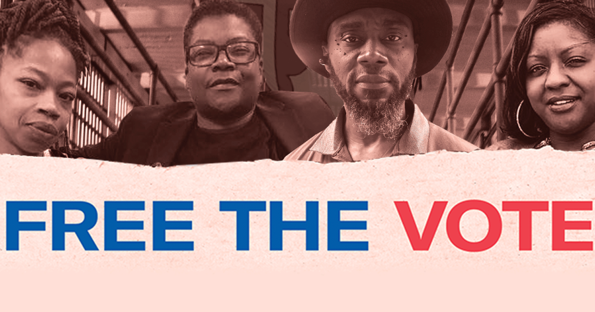 Free the Vote poster segment of Nicole Hanson Mundell, Monical Cooper, Earl Young, and Qiana Johnson.