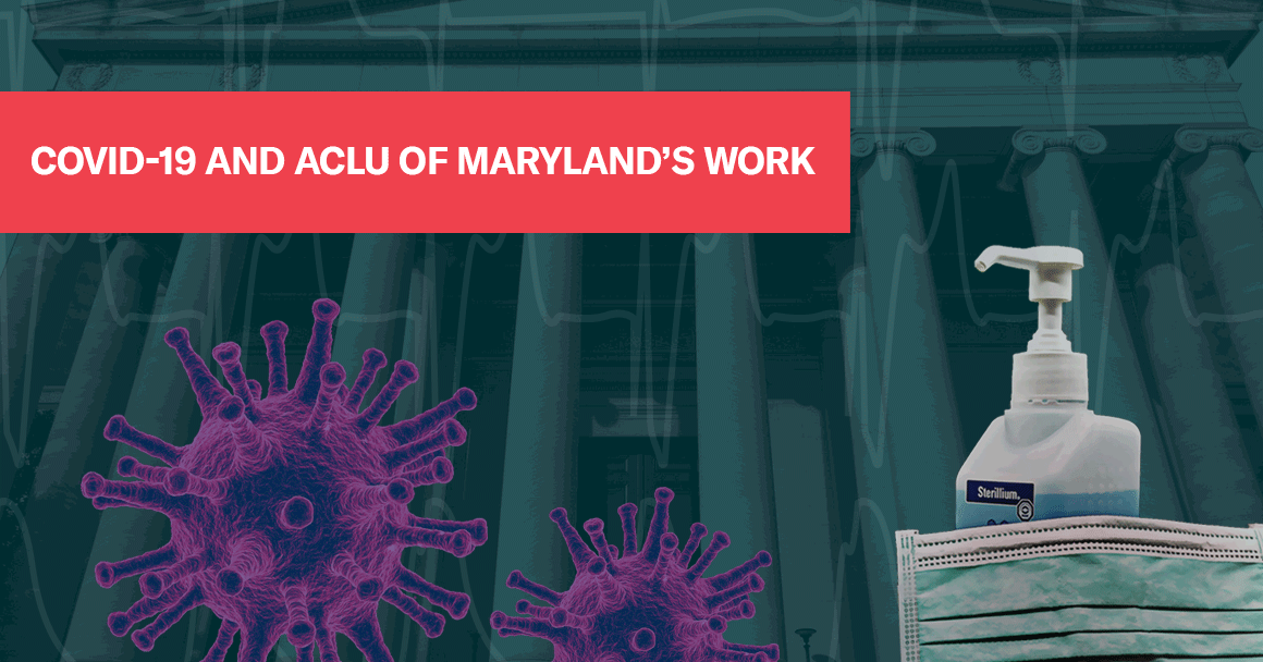 COVID-19 and ACLU of Maryland's Work - collage image with coronavirus particle and hand sanitizer and mask in front of a courthouse